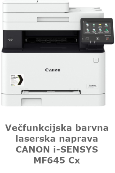 Večfunkcijska barvna laserska naprava CANON MF645Cx